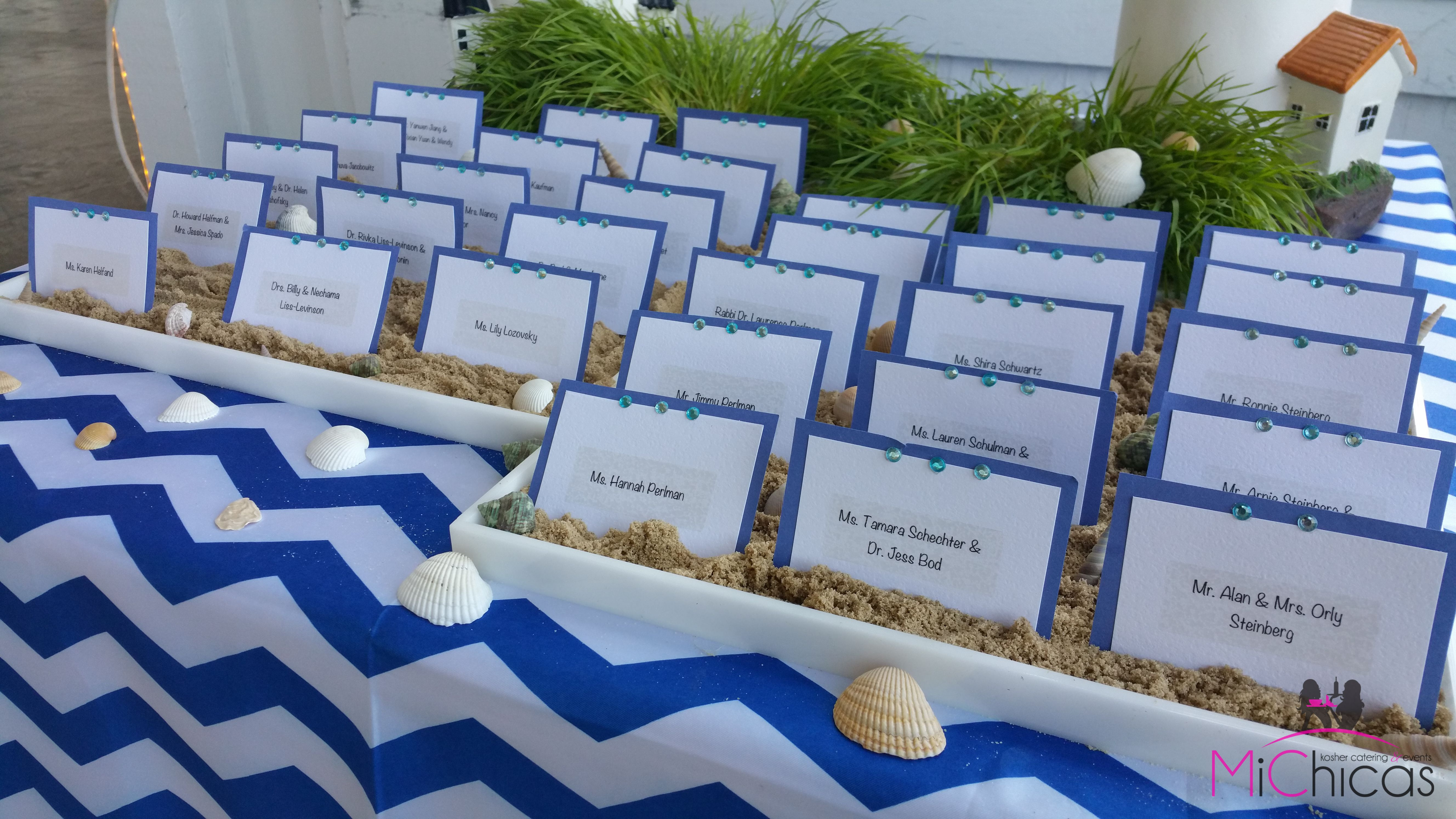 Place Cards Stuck In Sand At Beach Wedding Cool Place Card Ideas