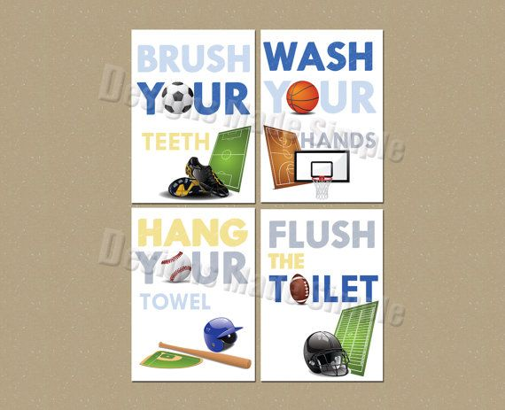 Sports Signs for Childrens Bathroom Set of by DesignsMadeSimple
