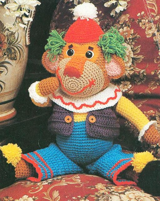 Vintage crochet monkey clown.