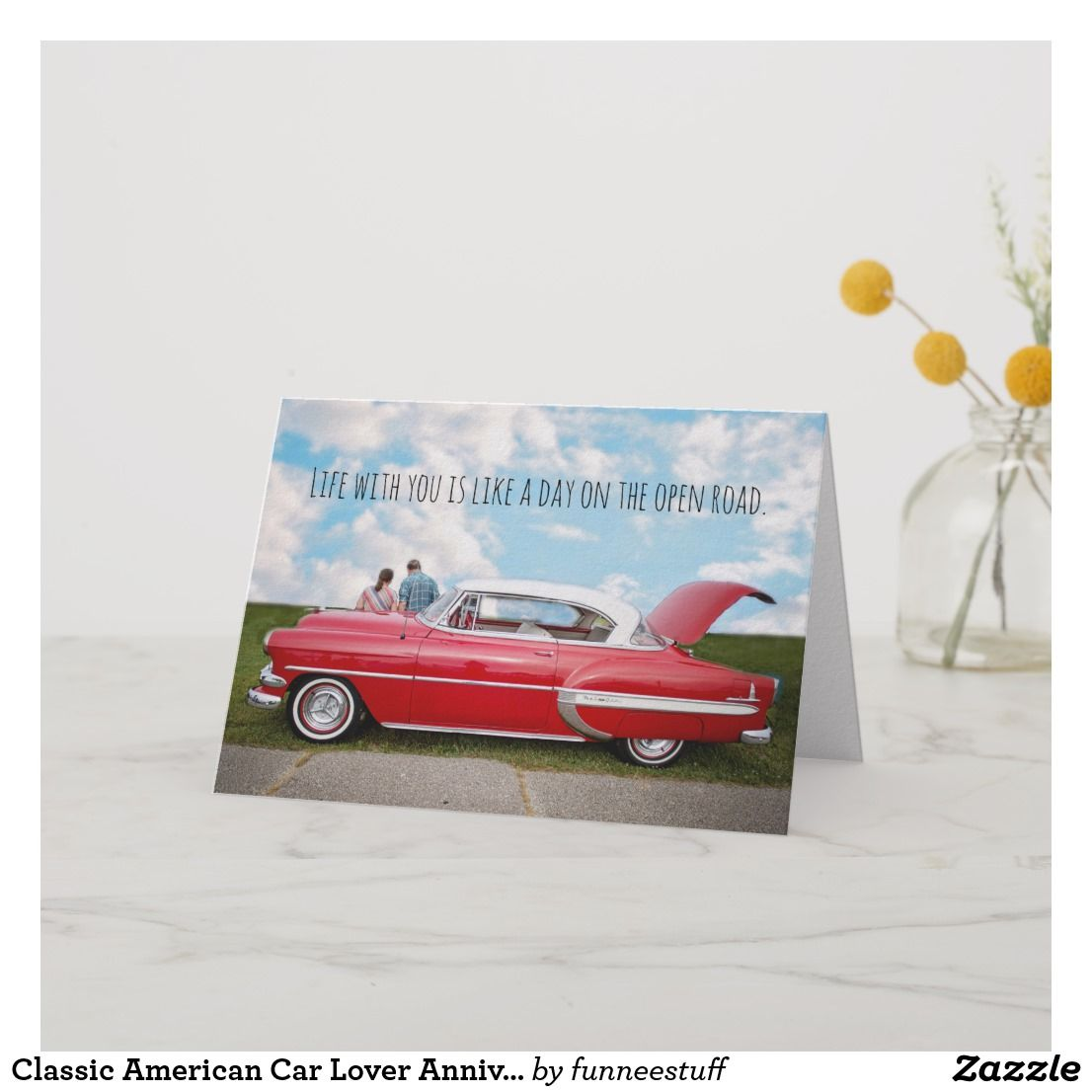Classic American Car Lover Anniversary Card