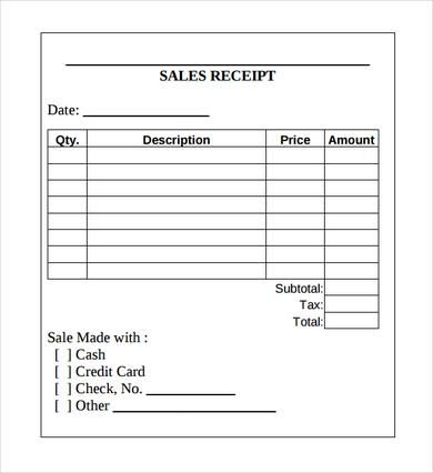 Sales Receipt Template , Printable Receipt Template Excel for Use - examples of receipts for payment