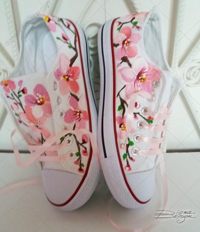 Photo of Cherry Blossoms Sneakers, Hand Painted Sakura Shoes, Japanese Sakura Art, Cherry Blossoms Art, Handpainted Sneakers, Japanese Style Shoes