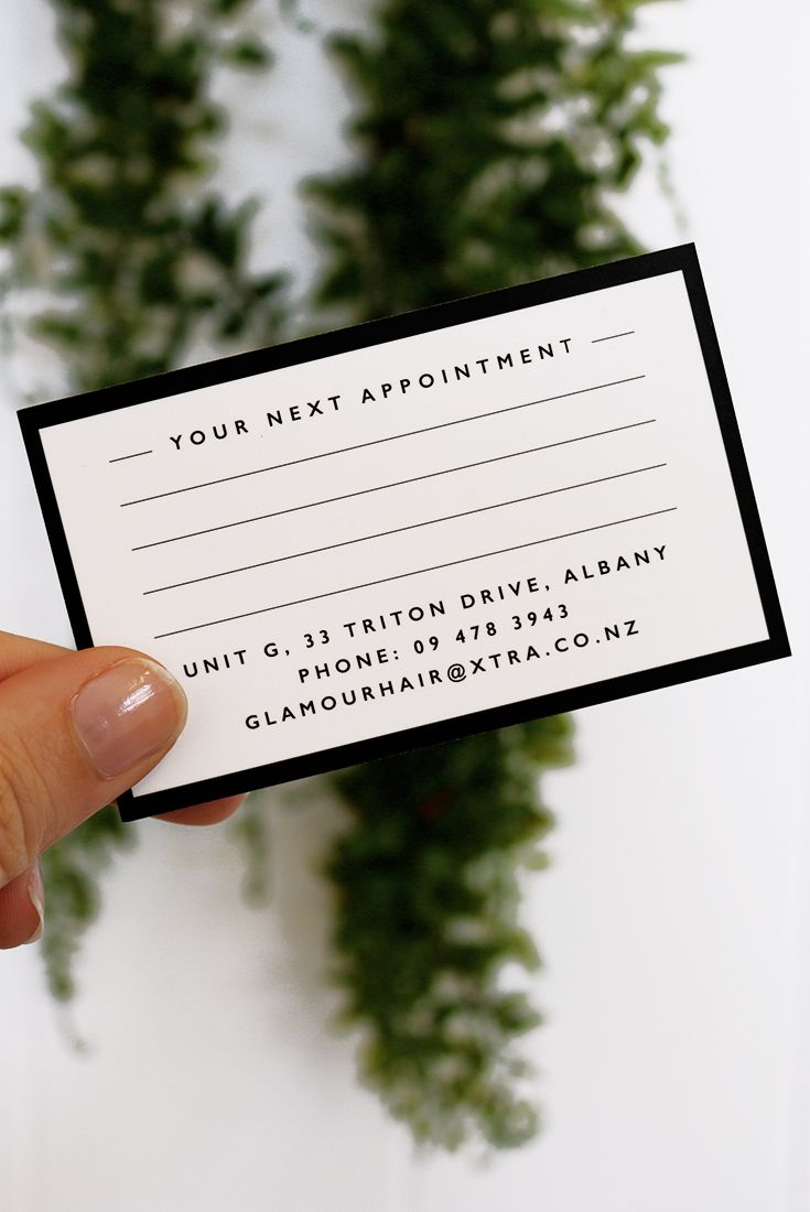 Business Card For Glamour Hair Boutique A Salon Located In Albany
