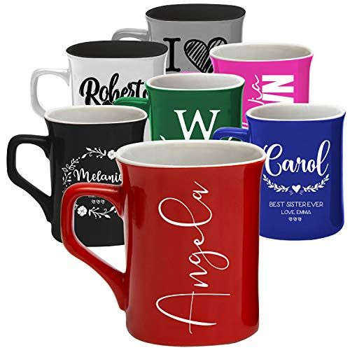Personalized Coffee Mugs, 11 oz. & 16 oz.   8 Design - 2 Size - 7 Color   Personalized Gifts, Ceramic Mug, Gift for Housewarming - Hand Wash Only #disneycoffeemugs