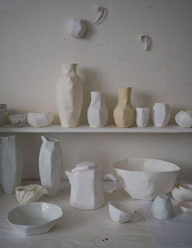 Creamy geometric ceramics