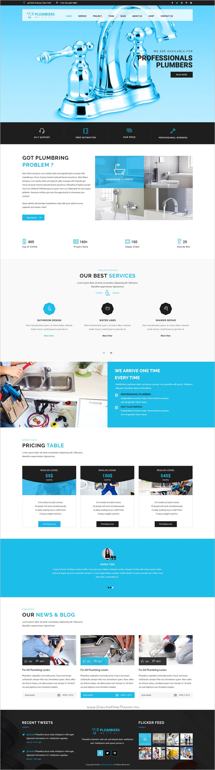 plombiers plumber repair services psd template psd templates