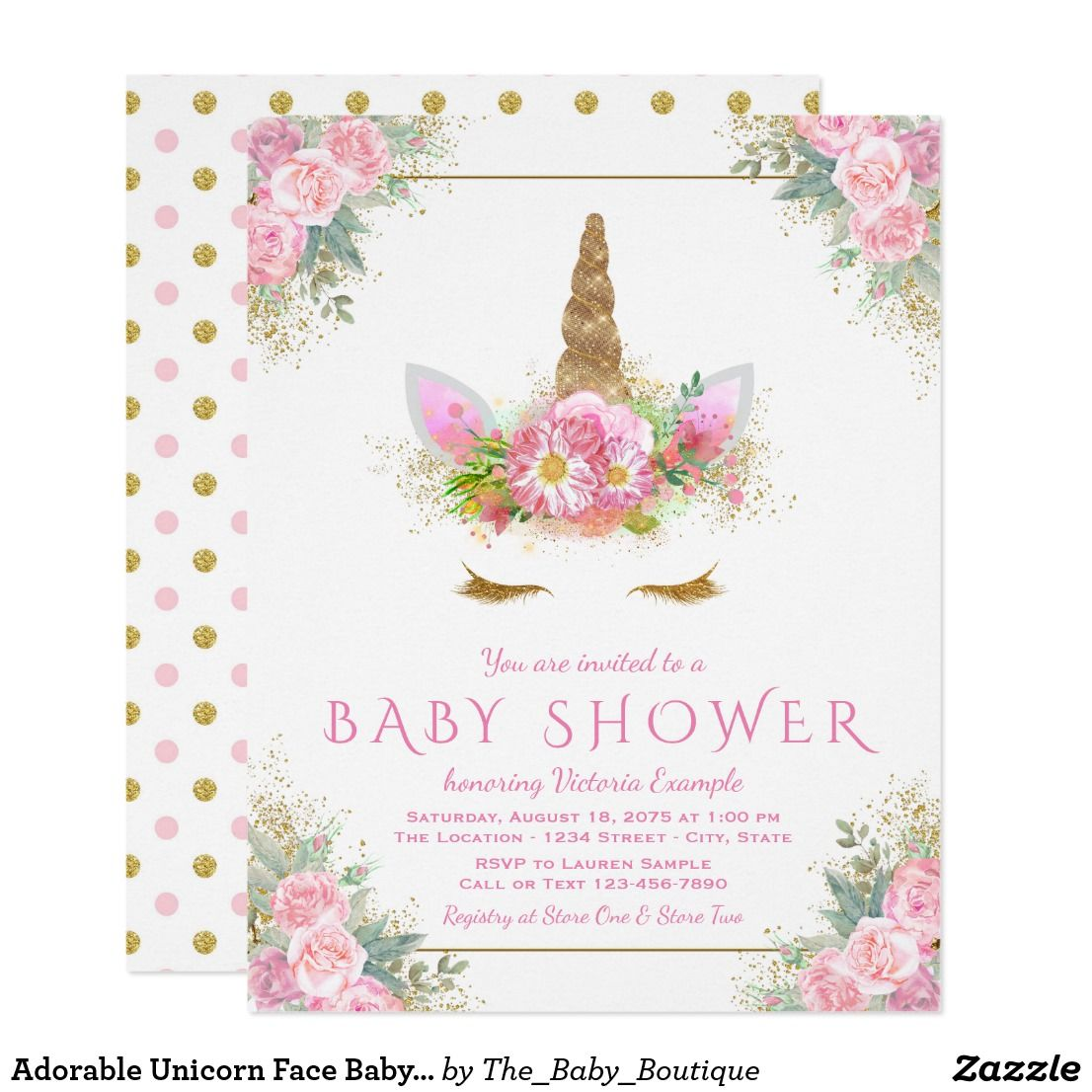 c3a1adead0db Unicorn BABY SHOWER Glam Gold   Pink Floral Polka Dots Pretty   Adorable  Personalized Baby Shower Invites Announcements Invitations Card  unicorn    ...