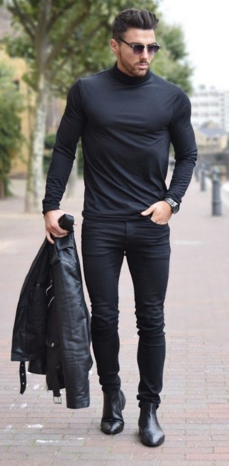 Leather Boots Jeans Men