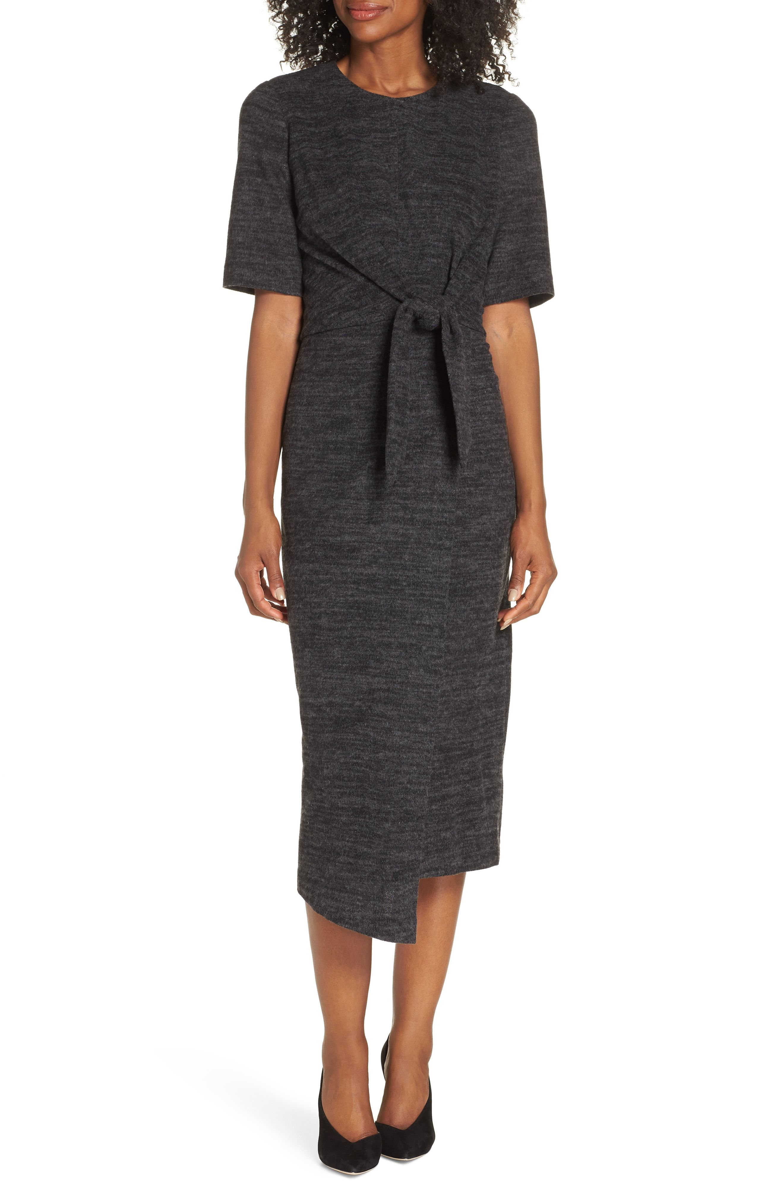 359fedbeff3b Maggy London Tie Front Midi Dress available at  Nordstrom Love this style  and the color is perfect for work!