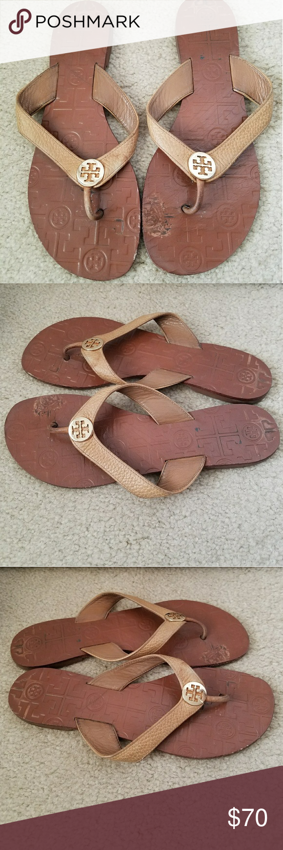 e7ac7e33748 Tory Burch Tan Leather Thong Sandals Size 8 Good Pre-owned Condition! Minor  sign of wear consistent with use shown in pictures.