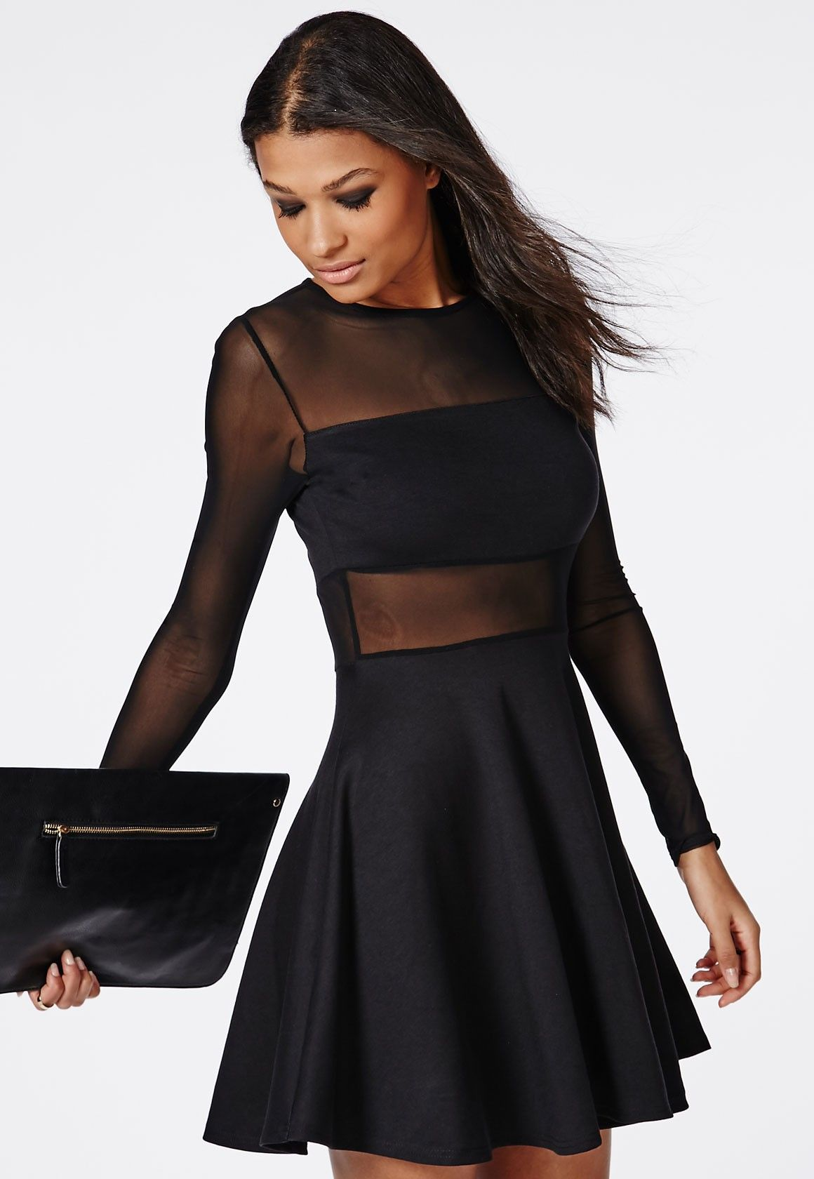 f50780fd0a Missguided - Mesh Insert Long Sleeve Skater Dress Black
