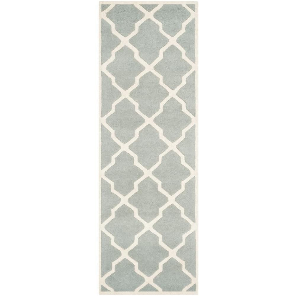 Safavieh Chatham Grey Ivory 2 Ft X 11 Ft Runner Rug Cht735e 211 In 2020 Ivory Rug Geometric Area Rug Wool Rug