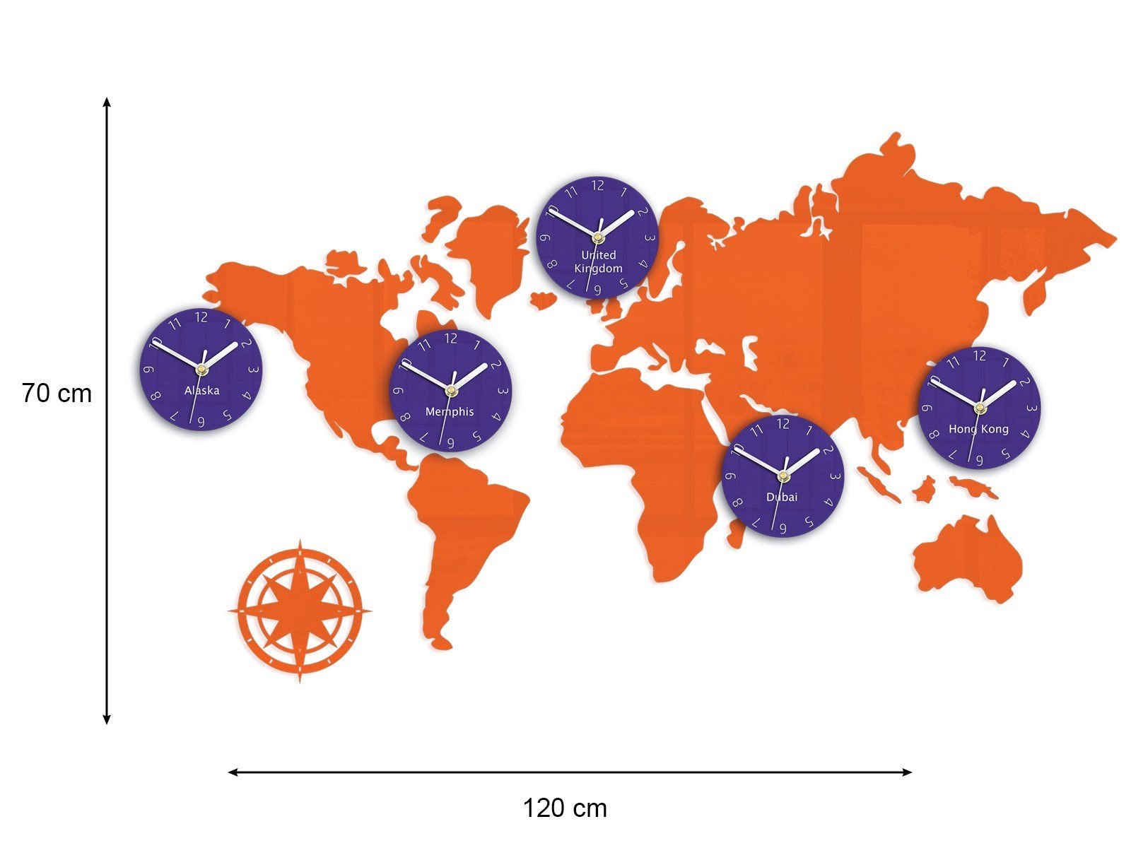clock Orange world map with 5 time zones Hong Kong