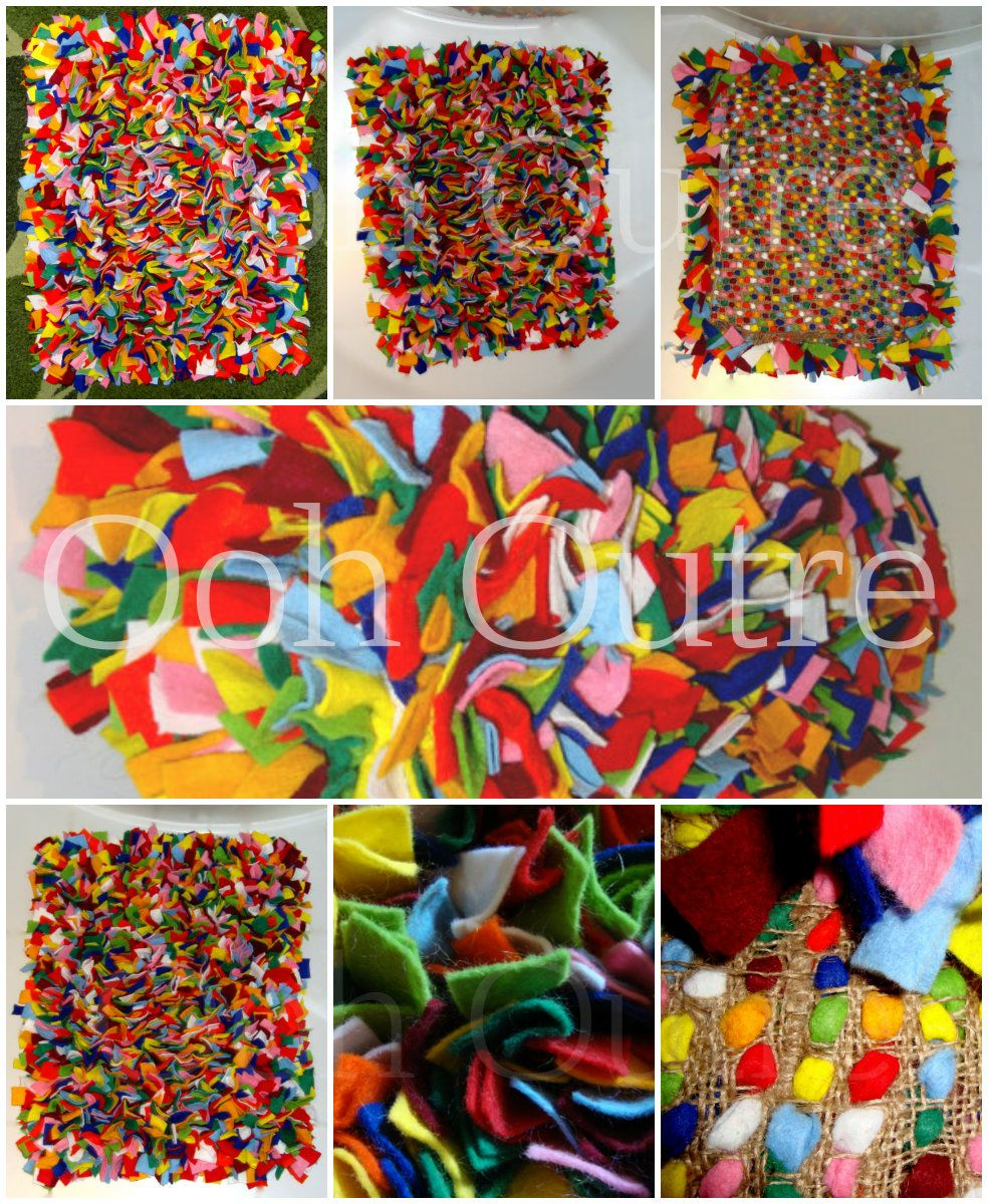 Brightly Coloured Small Rag Rug Handmade Using Felt Offcuts By Ooh Outre