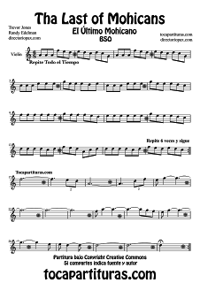 Partitura de El Último Mohicano para Violín Music Scores by Trevor
