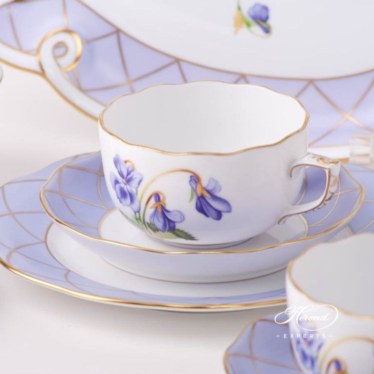 Tea Set for 2 Persons - Sisi Violet Flower | Herend Experts #teasets