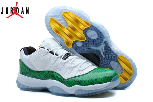 c73f9cfa2c9f Men s Air Jordan 11 Low Green Snake Basketball Shoes White Green 136046-003