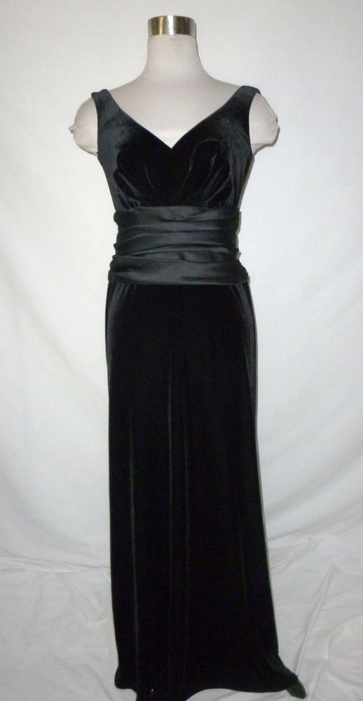 Vintage Tadashi Black Stretch Velvet Evening Gown Tadashi Temple