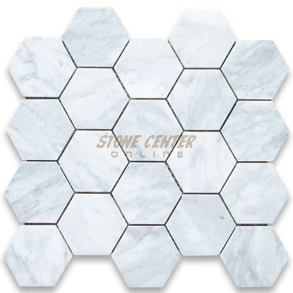 Carrara White 3 Inch Hexagon Mosaic Tile Honed I N T E R
