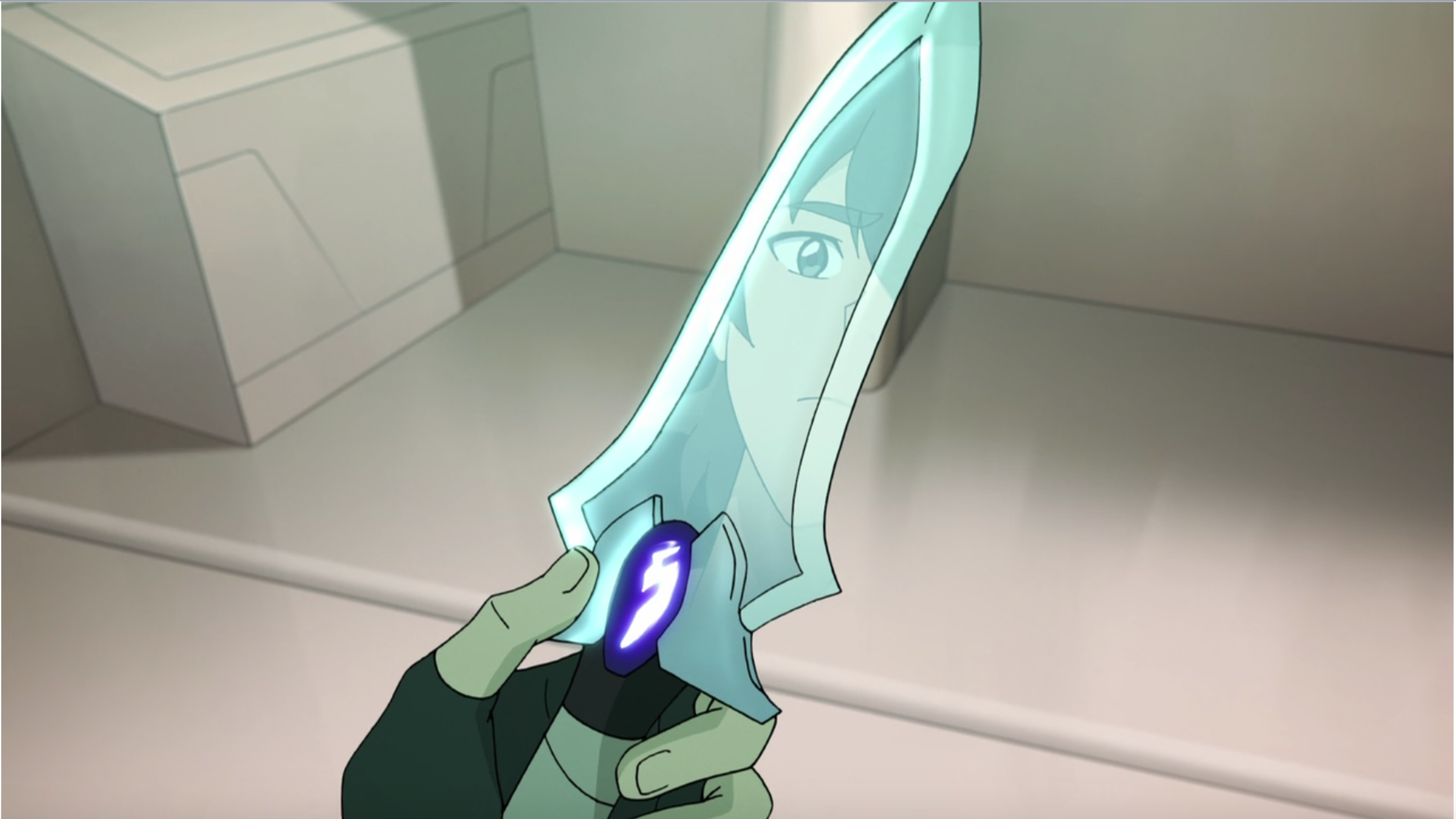 Keith's reflection on his knife blade with the Blade of Marmora