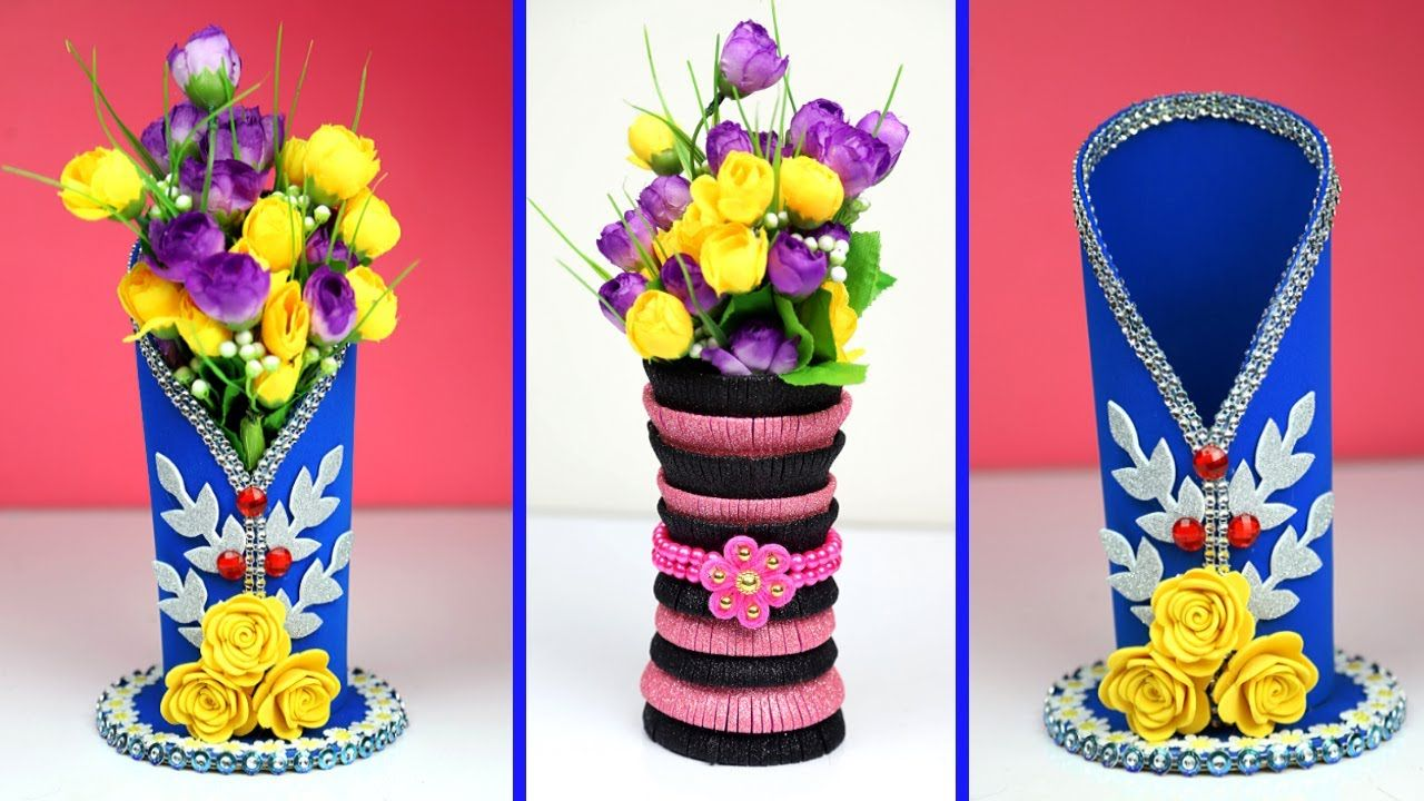 Diy Easy Flower Vase Ideas Beautiful Flower Vase Making At Home Home Flower Vase Making Vase Crafts Flower Vases