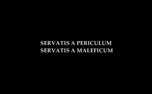 servatis a periculum servatis a maleficum (save us from danger, save us  from evil) With evanescence symbol Calf?