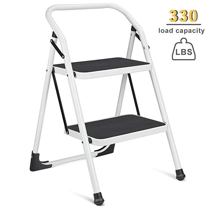 Delxo 2 Step Ladder Portable Step Stool With Handgrip Anti Slip And Wide Pedal Sturdy Steel Ladder Multi U Step Ladders Folding Step Stool Step Stool