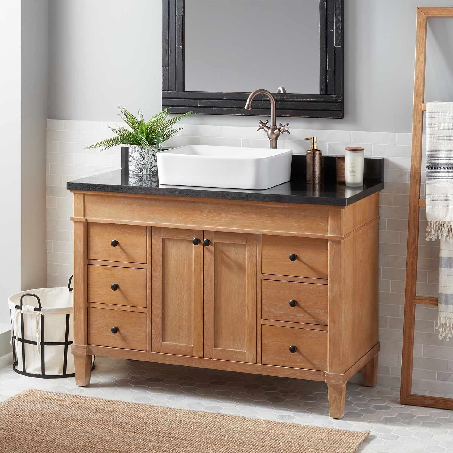 Displaying A Natural Warmth Emphasized By Unique Wood Grains The 48 48 Inch Bathroom Vanity Modern Bathroom Vanity Double Sink Bathroom Vanity [ 1500 x 1500 Pixel ]