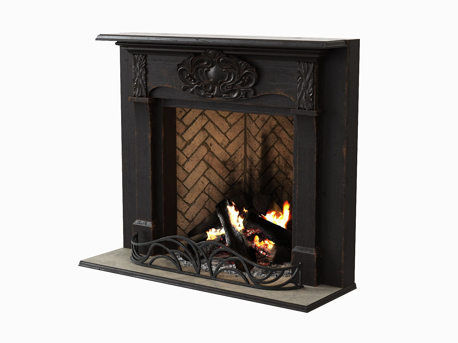 3d black wood fireplace 3d model 3d modeling pinterest wood