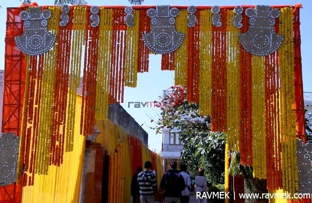 Marigold Flowers Entry Gate Wedding Decorations India Wedding