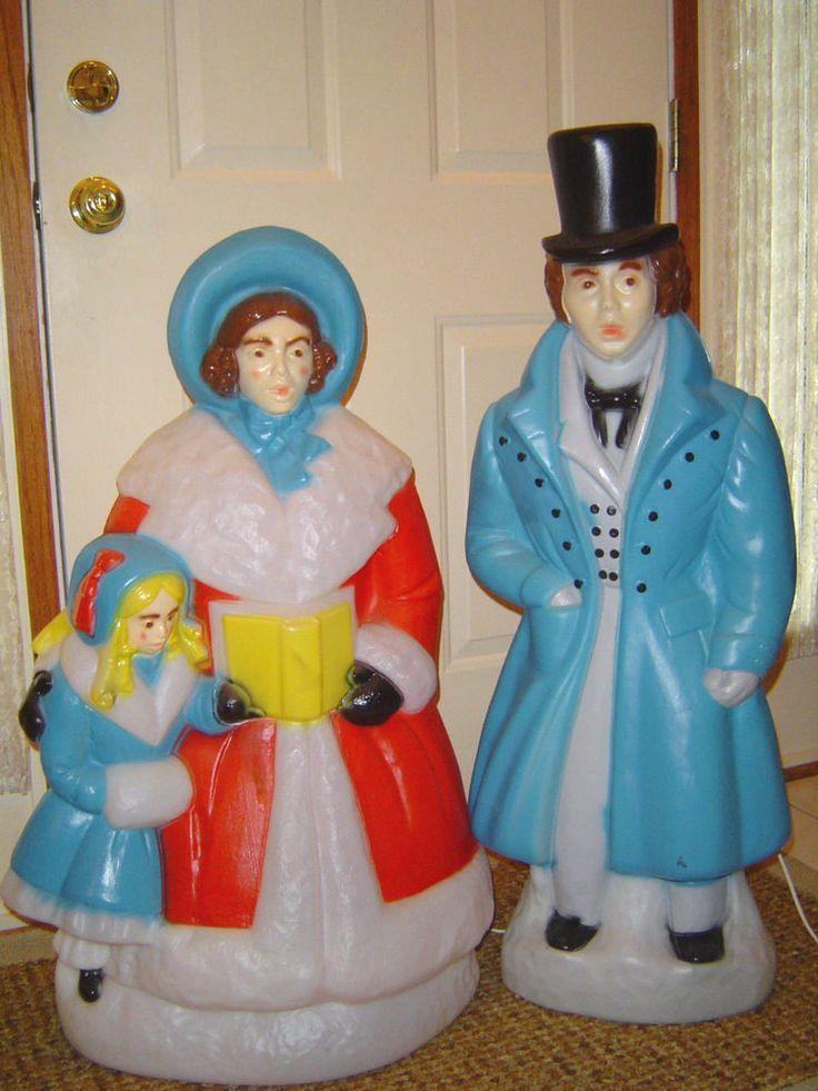 Blow Mold CHRISTMAS MAN  WOMAN CHILD CAROLERS 35/38\