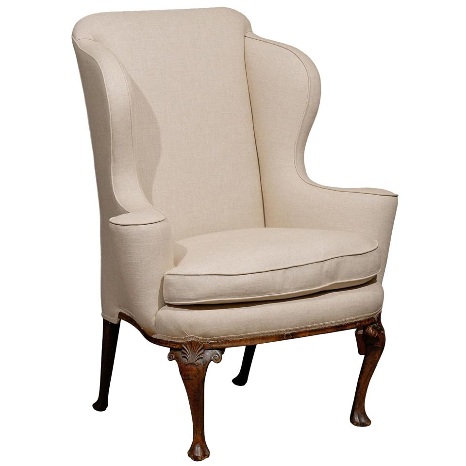 18th century english queen anne walnut wing chair with for Modern queen anne furniture