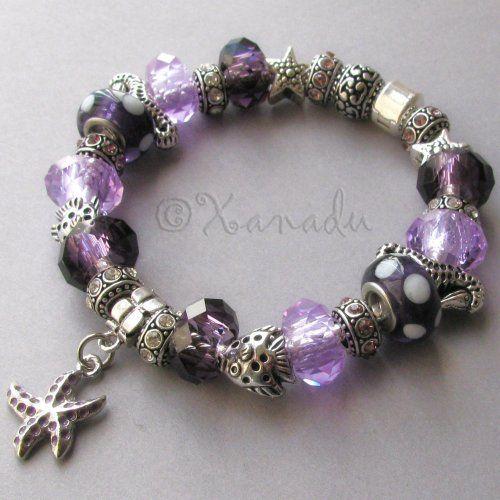 Mystic Purple Ocean European Style Charm Bracelet Xanadudesigns Pandora
