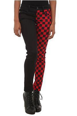 Red checker split leg jeans from Hot Topic. #hottopicclothes