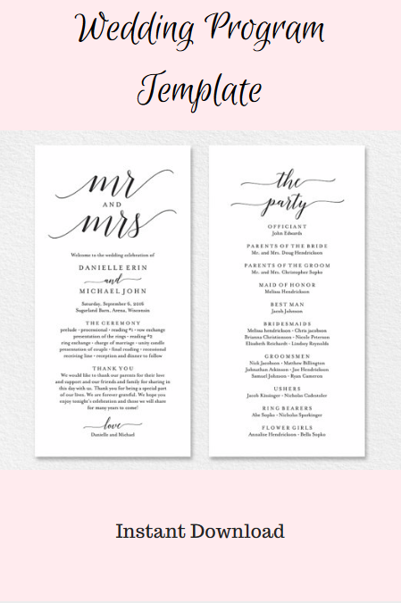 edit and print your own wedding programs wedding