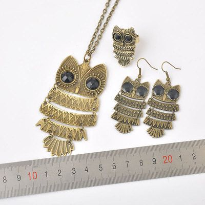 Fashion Jewelry Retro Brass Vintage Owl Earrings Ring Necklaces Sets Free SHIP   eBay