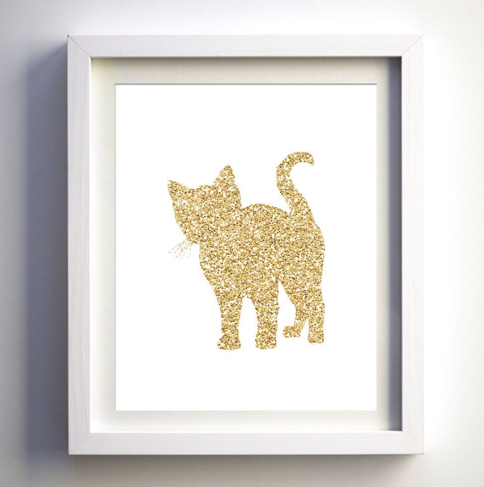 Kitten cat print wall art glitter kitten download girls baby nursery ...