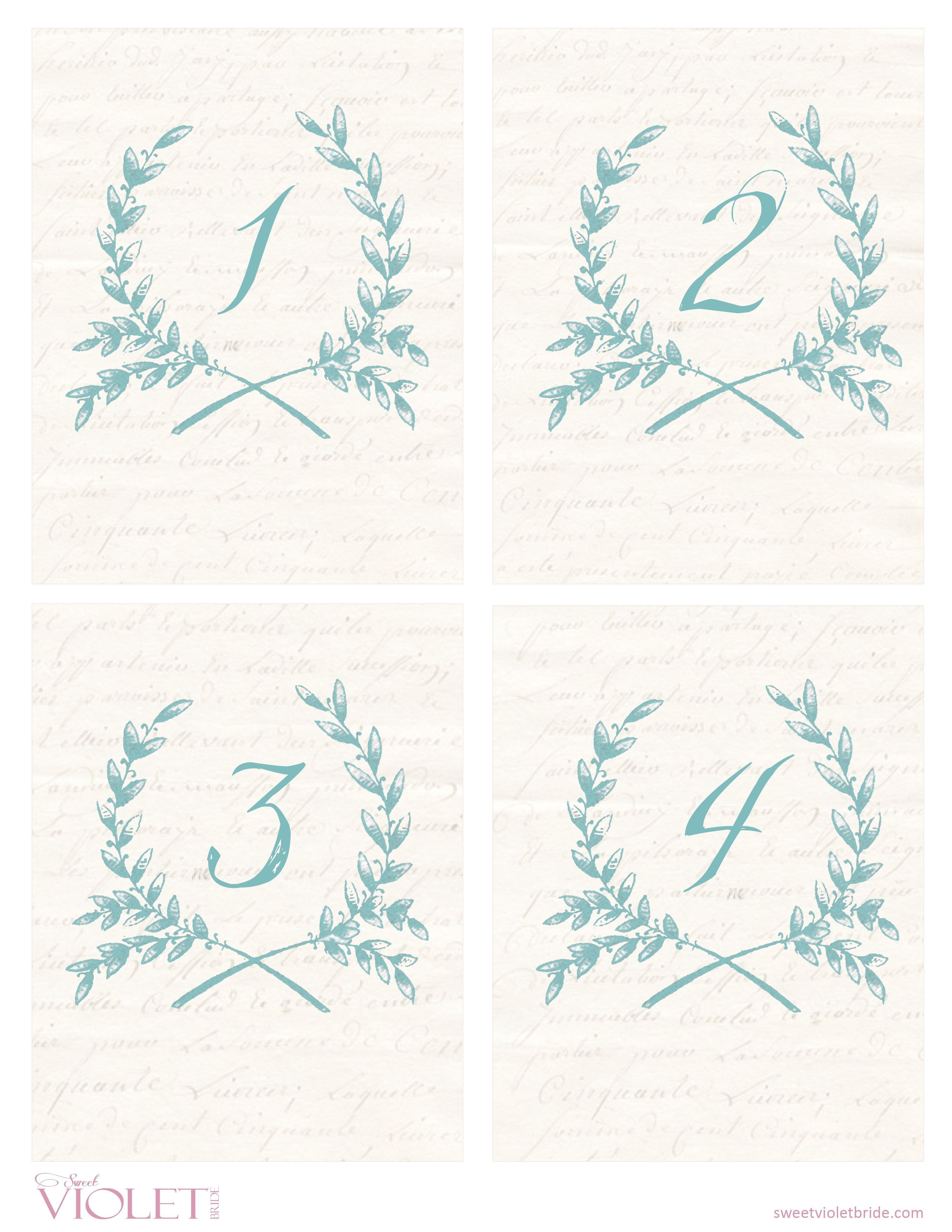 table numbers for wedding reception templates - free printables blue wreath table numbers wedding
