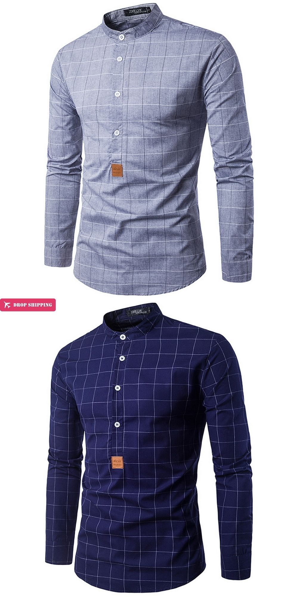 New arrival mens fashion clothes mens plaid mandarin collar slim