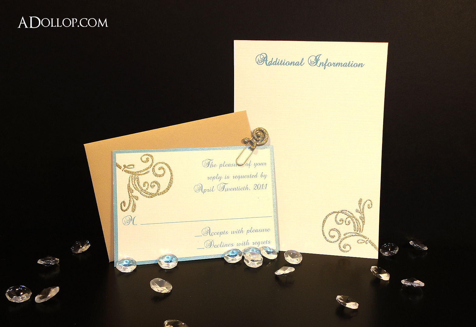 unique sparkling blue and gold bird boxed wedding invitation