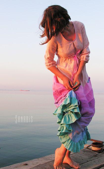 0630ccfc1ace7a8 Свадебное платье из льна. Длинное, женственное платье невесты с нежной,  розово-сиреневой