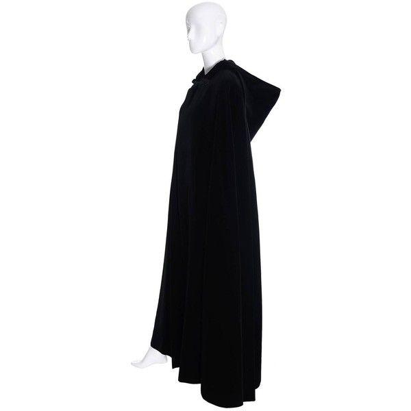 007008f5839 YSL Yves Saint Laurent Rive Gauche Vintage Opera Cape Hooded Black... ❤  liked on Polyvore featuring outerwear, velvet cape, yves saint laurent, cape  coat, ...