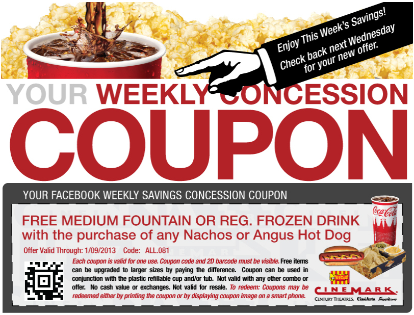 Medium drink free with your nachos or dog at Cinemark