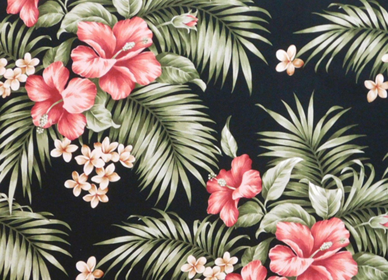 Hawaiian Floral Fabric Cotton Black Hibiscus Ferns Palm Leaf High