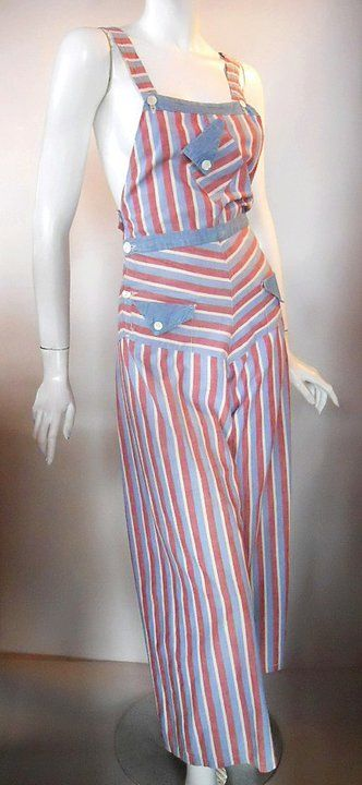 1930s Nautical Beach pajamas red white blue overalls pants
