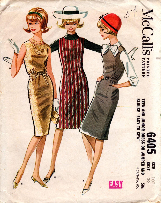 1960s Sheath Dress Jumper & Blouse - Vintage Pattern McCall\'s 6405 ...