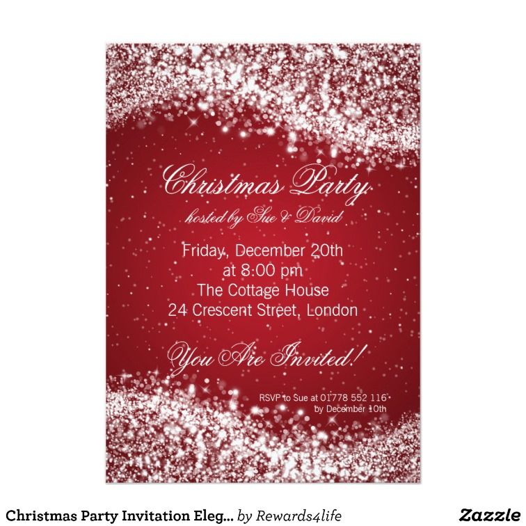 Christmas Party Invitation Elegant Sparkle Red Wallpaper