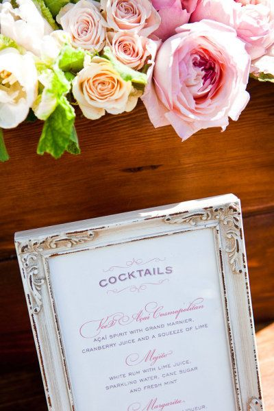 signature cocktails + wine + champagne to be served instead of full open bar- shabby chic style frame to show what the signature cocktails are