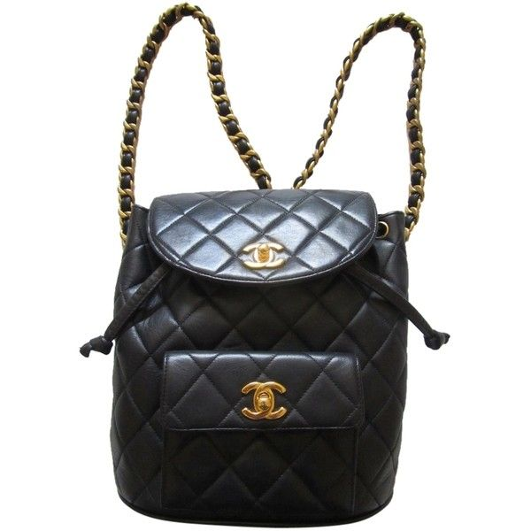 a3bb2a6e7dae Pre-owned Chanel Quilted Cc Logo Chain Backpack ($2,399) ❤ liked on  Polyvore featuring bags, backpacks, black, black backpack, quilted backpack,  black ...