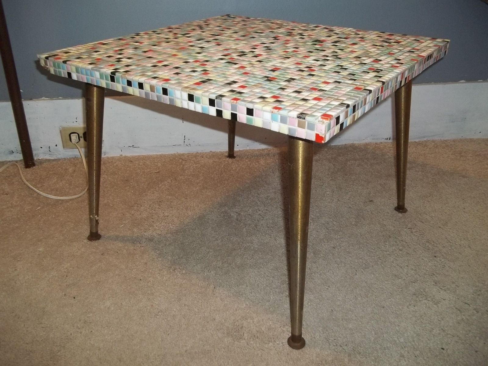 Mid Century Mosaic Tile Top End Table Coffee Table Abstract 1950s 60s Hand  Made |
